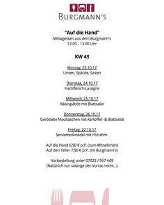#KW43 Mittagessen im oder aus dem Burgmanns #aufdiehand oder #aufdenteller