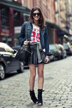New York City Fashion and Personal Style Blog: Denim jacket, NY Giants jersey, leather skirt, cutout sandals