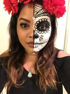 Day of the Dead Makeup Half Face Dia de Los Muertos Halloween Makeup DIY