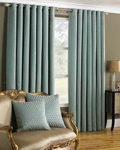 Devere Geometric Eyelet Curtains - Turquoise — Matalan Direct