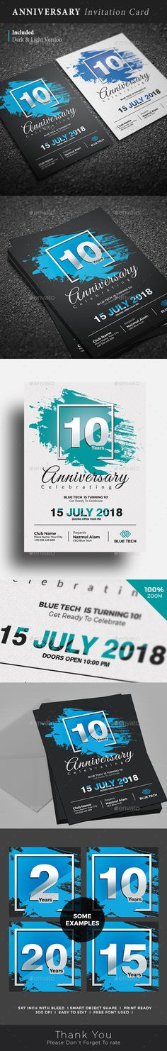 Anniversary Invitation / Flyer Template. You can use this template in multipurpose way like corporate anniversary, Company anniversary, Corporate party invitation, Wedding anniversary, Wedding party invitation, Marriage anniversary, celebration and other related anniversary invitation. This template includes 2 color versions.