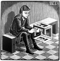 "M.C. Escher - Man with Cuboid (1958. Wood engraving. 64x64 cm) / The prototype of the one of characters of litograph ""Belvedere"" / #woodblock #engraving #print"