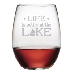 Life is Better at the Lake Stemless Wine Glasses ~ Set of 4 Life is Better at the Lake. We agree! Enjoy these cleverly designed stemless glasses at your lake house. They also make a great gift! Each o