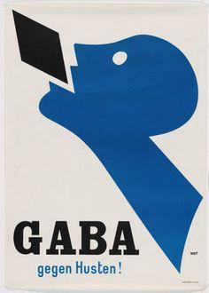 """Niklaus Stoecklin for Wassermann A.G., """"Gaba gegen Husten!"""" 1927. Lithograph. Courtesy MoMA"""