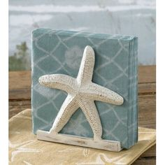 Coastal; Starfish Napkin Holder - picture a block box w/starfish in similar design for bookends