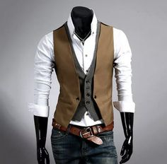 Jmwss QD Mens Sleeveless OL Suit Vests Double-Breasted Waistcoats