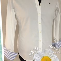 White Boyfriend Shirt NWT Tailored cut Boyfriend Shirt perfect for the office w/your Pencil Skirt. Decorated cuff button down round tail hem. Tommy Hilfiger Tops