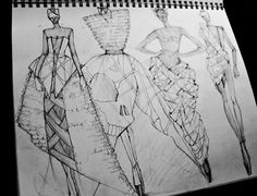 Fashion Sketchbook drawings - dress sketches