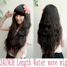 1PC+Free Shipping 34inch 3 Colors Bohemian Hair Style Wig Synthetic Wigs Black Women Top Quality pelucas Free Caps For Hair