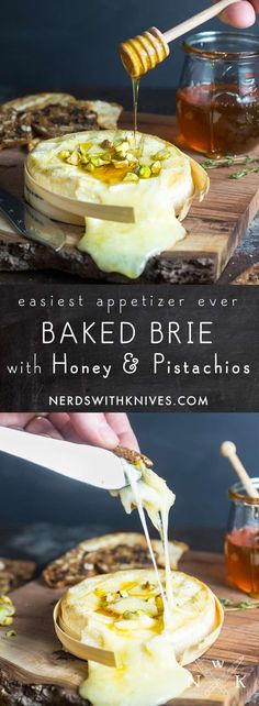 Easy Baked Brie with Honey and Pistachios: addictive! Baked Brie 15 mins and served w/triscuits and ritz crackers. Note: used 8 oz Brie. Yummy Appetizers, Appetizer Recipes, Sukkot Recipes, Baked Brie Appetizer, Holiday Appetizers, Burger Recipes, Brunch, Brie Au Four, Baked Brie Honey