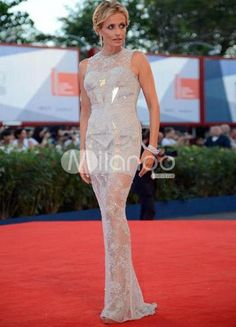 Sheath Silver Lace Beading Isabella Ferrari Venice Film Festival Dress. See More Venice Film Festival Dresses at http://www.ourgreatshop.com/Venice-Film-Festival-Dresses-C907.aspx