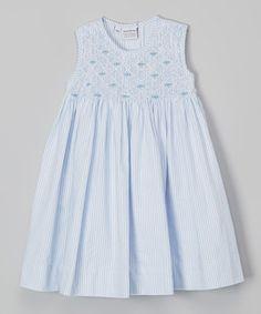 Blue Stripe Queen Smocked Dress - Infant