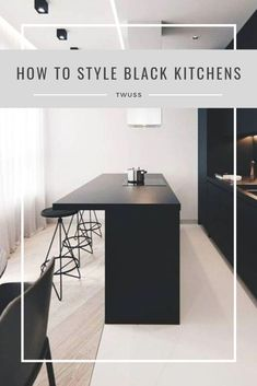 How to tyle your very own black kitchen. All black kitchens may seem intimidating at first, but they are ultra-modern and so gorgeous. Kitchen Trends, Kitchen Hacks, Kitchen Cupboards, Cabinets, Charcoal Kitchen, Dark Kitchens, Interior Design Help, Kitchen Designs, Punch