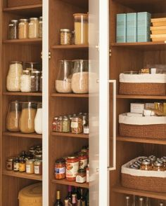 glass jars to store grains and cotton-lined baskets to hold smaller items