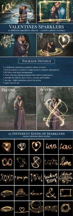 Creative valentines sparklers photo overlays – great for Valentine's Day pictures, wedding, couple & date pictures… JPG files with black background, super easy to use. Sparklers photo overlays, valentines overlays. For Photoshop and others.