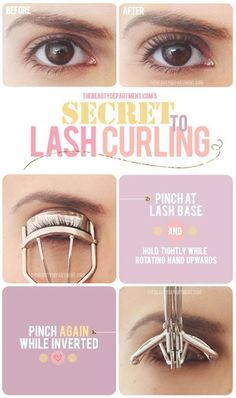 Secret to Lash Curling - Head over to Pampadour.com for more beauty guides! Pampadour.com is a community of beauty bloggers, professionals, brands and beauty enthusiasts! #makeup #howto #tutorial #beauty #guide #iron #cosmetics #beautiful #pretty #love #pampadour #eyelashes #lashes #curler #curling
