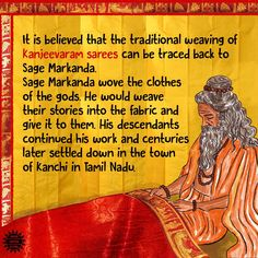 """""""To celebrate National Handloom Day today, here is a story about how the Kanjeevaram weave came to be! True Interesting Facts, Interesting Facts About World, Intresting Facts, Hinduism History, Wow Facts, Weird Facts, India Quotes, Indian Philosophy, Hindu Rituals"""