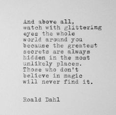 Roald Dahl Quote Typed on Typewriter