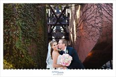 Bride and Groom on jack knife bridge near Shooters in Cleveland in September.  Free to use, need to get into the paid lot to use but generally isn't a problem.