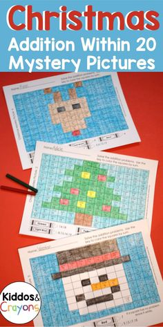 Developing addition fact fluency is a skill that takes a lot of skill for my students to master. These Christmas themed mystery pictures are an engaging way for students to practice addition facts and… More First Grade Science, First Grade Writing, First Grade Activities, Teaching First Grade, Teaching Kindergarten, Math Fact Fluency, Addition Facts, Christmas Math, Math Facts