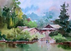 Watercolor Landscape Paintings, Watercolor Trees, Nature Paintings, Abstract Watercolor, Watercolour Painting, Landscape Art, Watercolor Sketchbook, Watercolor Sunflower, Art N Craft