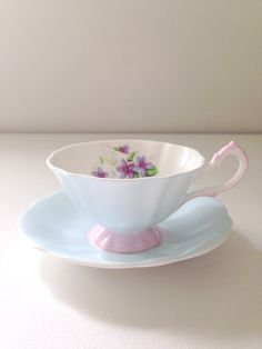Vintage Queen Anne English Tea Cup  Saucer Fine Bone China Chateau Blue Mother to Be Gift Inspiration