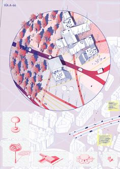 VIA A66 - Space Popular's urban vision for the redevelopment of Highway A66 in Oviedo, Spain.Presentation Board 01. Design Team: Lara Lesmes, Fredrik Hellberg, Jariyaporn Prachasartta, Kanyaphorn Kaewprasert, Kornkamon Kaewprasert. www.spacepopular.com