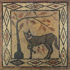 Wolf Mosaic, Aldborough Roman Town, Yorkshire, 300 AD
