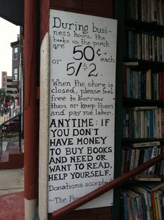 What an awesome sign! Paradox Bookstore in Wheeling, West Virginia