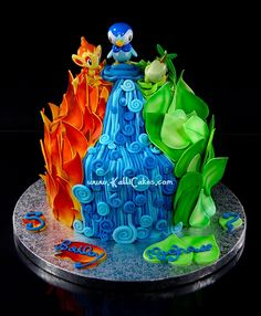 Now that's a cake! (Sans the cheesy foil base)   http://www.flickr.com/photos/kallicakes/5603467474/ Pokemon Torte, Pokemon Cakes, Sister Birthday, Cakes For Boys, Cake Kids, Cute Cakes, Big Cakes, Creative Cakes, Party Cakes
