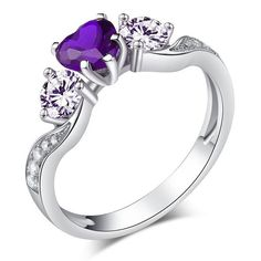 Heart Cut Created Amethyst Rhodium Plated 925 Sterling Silver Women's  Engagement Ring
