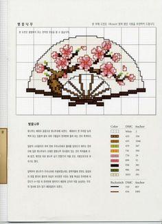 0 point de croix eventail japonais - cross stitch japanese fan