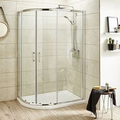 Pacific Offset Quadrant Shower Enclosure with Shower Tray & Waste - Left Hand Option at Victorian Plumbing UK Corner Shower Enclosures, Quadrant Shower Enclosures, Glass Shower, Shower Tub, Bathrooms Online, Attic Bathroom, Bathroom Ideas, Ensuite Bathrooms, Small Bathrooms