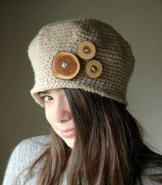 1920 Vintage Style Hat Crochet Hat Beige Crochet от TeaPartyHats