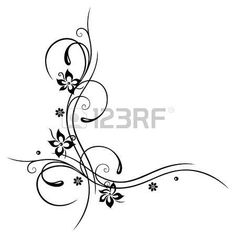 Black flowers illustration, floral element photo