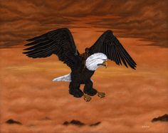 Buy The Cavalry Above The Clouds by Ben Kehoe Print- A brave pilot mounts his trusty one eyed eagle and raises his sword in glory. Rare special limited edition out of production art print.