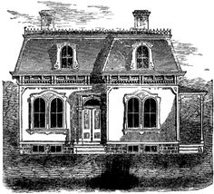 Second empire style mansard roof decorative iron for French mansard house plans