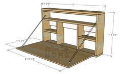 More like at home: DIY Desk Series # 9 - Folding wall desk . Space Saving Furniture, Diy Furniture, Furniture Dolly, Space Saving Desk, Desk Space, Furniture Outlet, Diy Bureau, Murphy Desk, Fold Down Desk