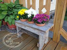 Weathered oak garden bench.  Signature ReFind Salvage.