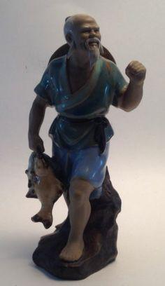 Chinese Shiwan Mud Man Fisherman Figurine Statue Asian Pottery