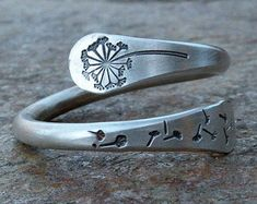 dandelion ring, twisted sterling silver