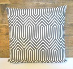 Gray geometric maze decorative pillow cover by pillowflightpdx, $26.00