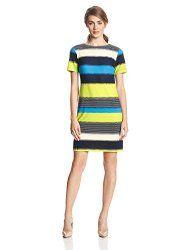 Donna Morgan Women's Short Sleeve Stripe Shift Dress Price: $70.80