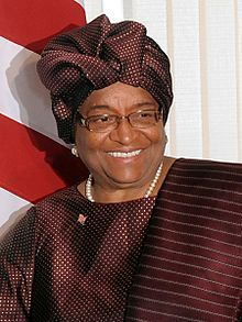 Ellen Johnson Sirleaf, the 1st female president of Liberia and 1st elected female head of state in Africa.  Winner of the 2011 Nobel Peace Prize.