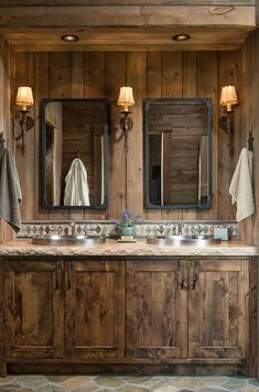 This timber frame cabin is designed by M.N Design along with PrecisionCraft Log & Timber Homes, located in Steamboat Springs, Colorado. Western Bathrooms, Cabin Bathrooms, Rustic Bathrooms, Dream Bathrooms, Rustic Master Bathroom, Rustic Bathroom Designs, Rustic Home Design, Timber Frame Cabin, Timber House