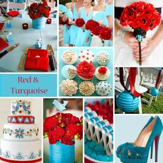 Red and Turquoise Wedding Colors - Red and turquoise  . Too bad I love pink or I would so do these colors