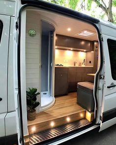 Van Conversion Interior, Camper Van Conversion Diy, Van Interior, Camper Interior, Van Conversion Lighting, Motorhome Conversions, Sprinter Van Conversion, Van Life, Kombi Motorhome
