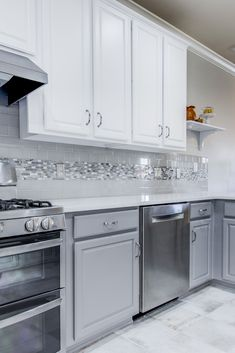 Brought this kitchen up to date by painting the existing cabinets white on top and a dark grey on the bottom, install new Caesarstone quartz countertops, Arizona Tile ceramic backsplash, and a marble liner to tie it all together! White Kitchen Backsplash, Kitchen Redo, Kitchen Tiles, Kitchen Countertops, New Kitchen, Kitchen Cabinets, Quartz Countertops, Backsplash Ideas, Dark Cabinets