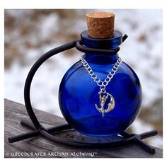 ✯ Midnight Moon Goddess Sapphire Blue Magic Potion Bottle, Enchanting Corked Glass Vessel with Sturdy Metal Stand :: Etsy Shop ArtisanWitchcrafts✯ Potion Bottle, Diy Bottle, Bottle Art, Wiccan, Magick, Witchcraft, Bottles And Jars, Perfume Bottles, Rhapsody In Blue
