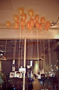 Balloons with photos from the bride and groom and their family - Detalle globos con fotos de los novios y sus familiares Anniversary Parties, Wedding Anniversary, Decoration Communion, Birthday Decorations, Wedding Decorations, Wedding Ideias, Our Wedding, Dream Wedding, Wedding Dreams